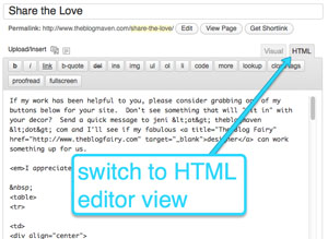 Switch to the HTML Editor to add your code | theblogmaven.com