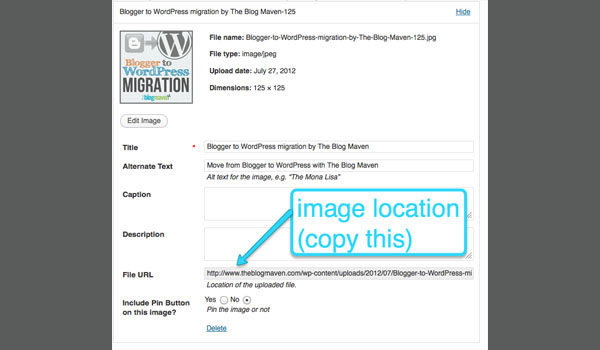 Upload your image into WordPress, taking note of the URL