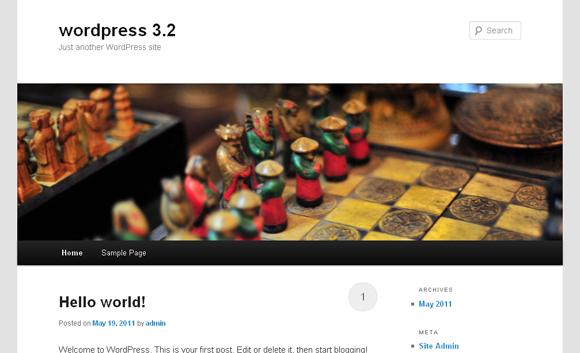 Blank WordPress install