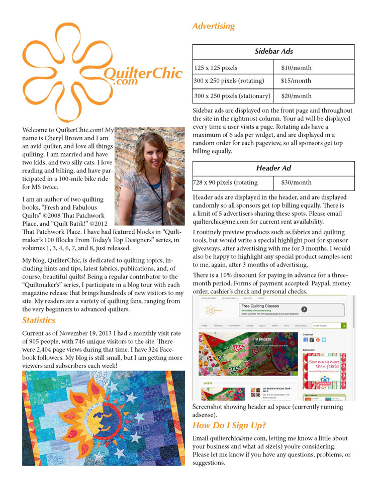 Media Kit Example Quilter Chic
