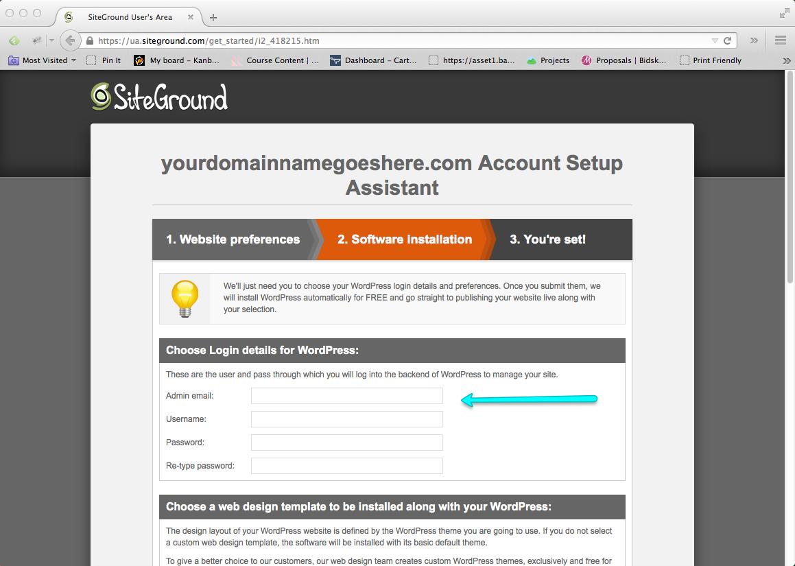 Start a Blog Step 08: Enter WordPress Blog Login Details