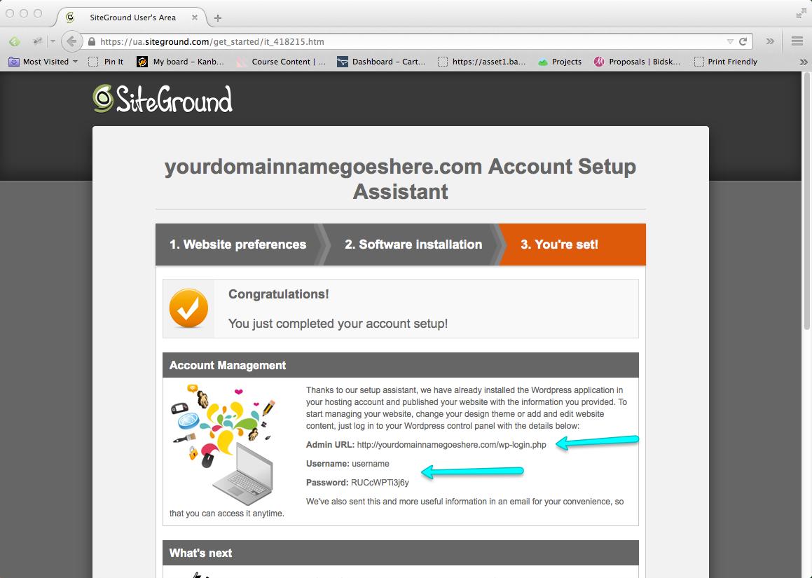Start a Blog Step 10: Verify Blog Access Details