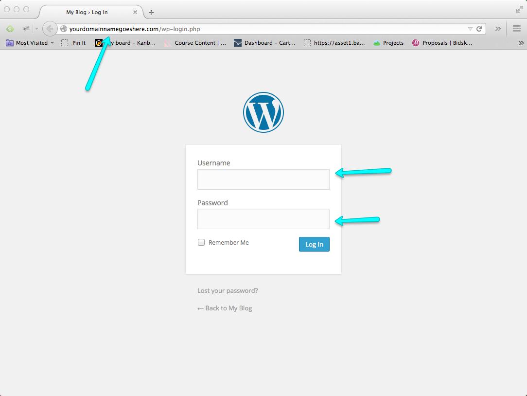 Start a Blog Step 11: Enter WordPress Blog